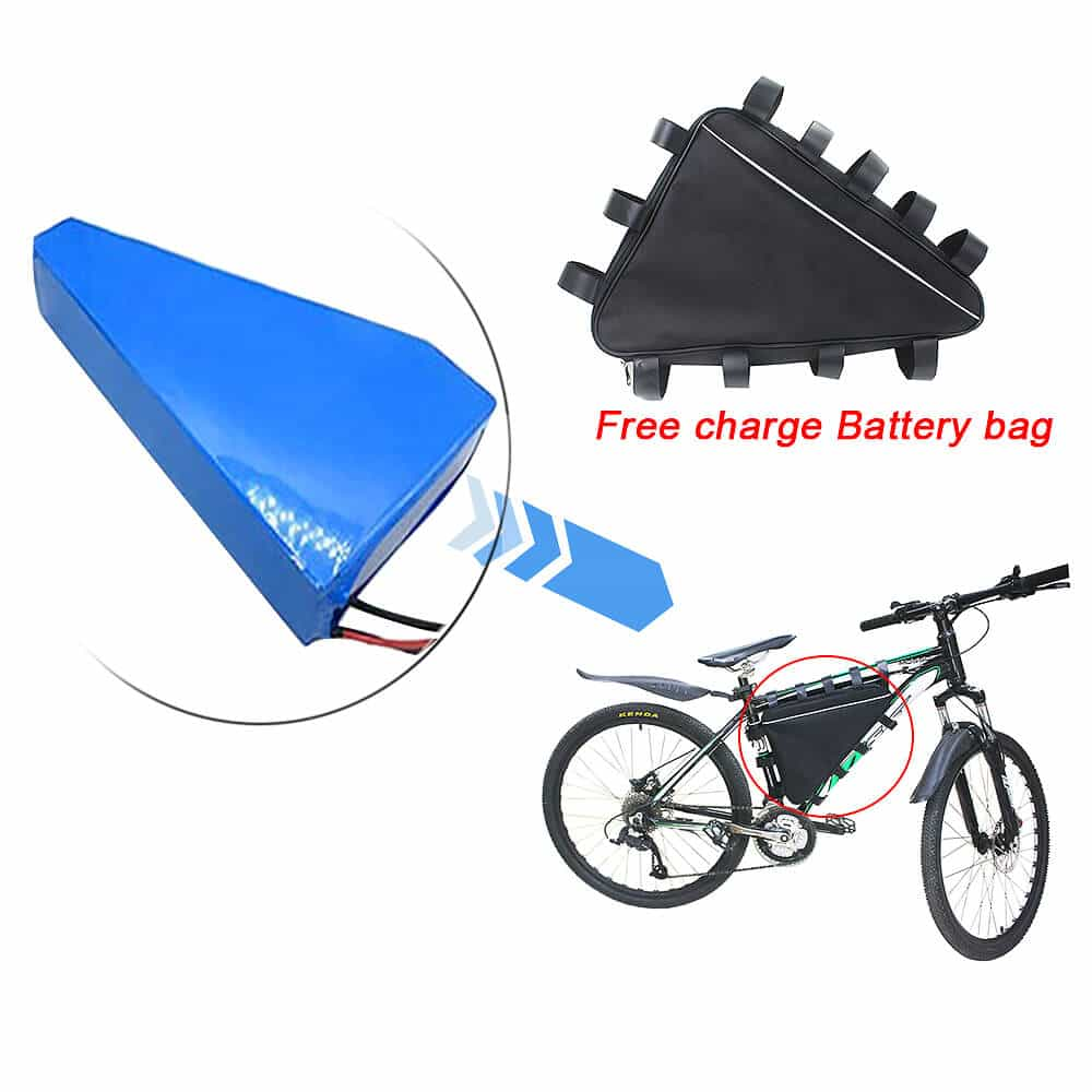 Fast charging 48V 20Ah triangle type down piple lithium ion battery pack for E-bike